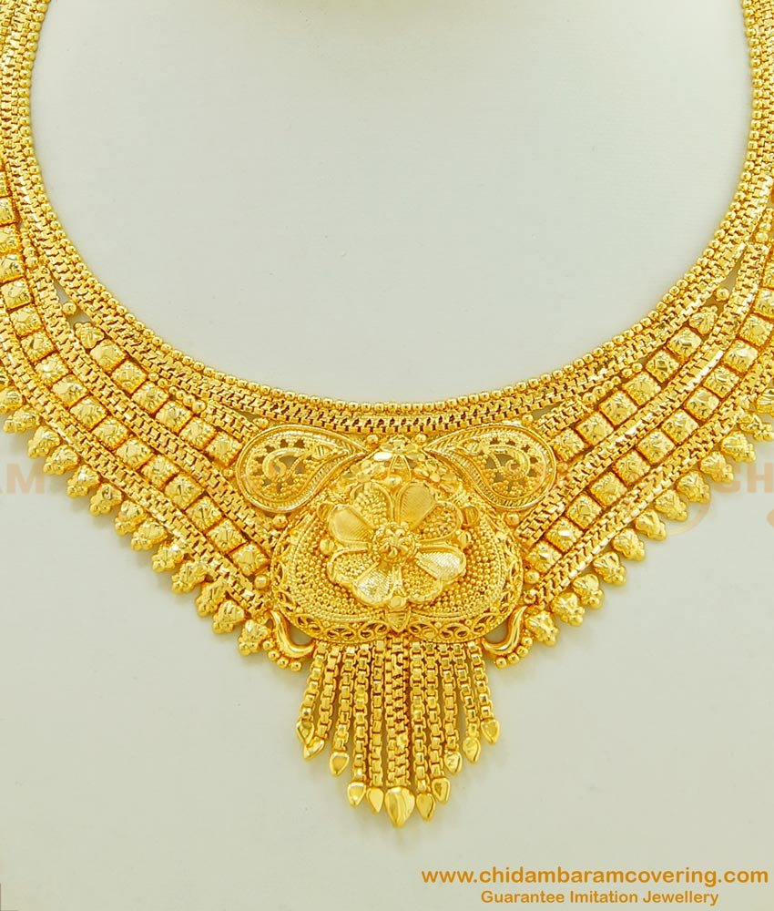 NLC446 - Traditional Design One Gram Gold Plated Necklace Design Buy Online