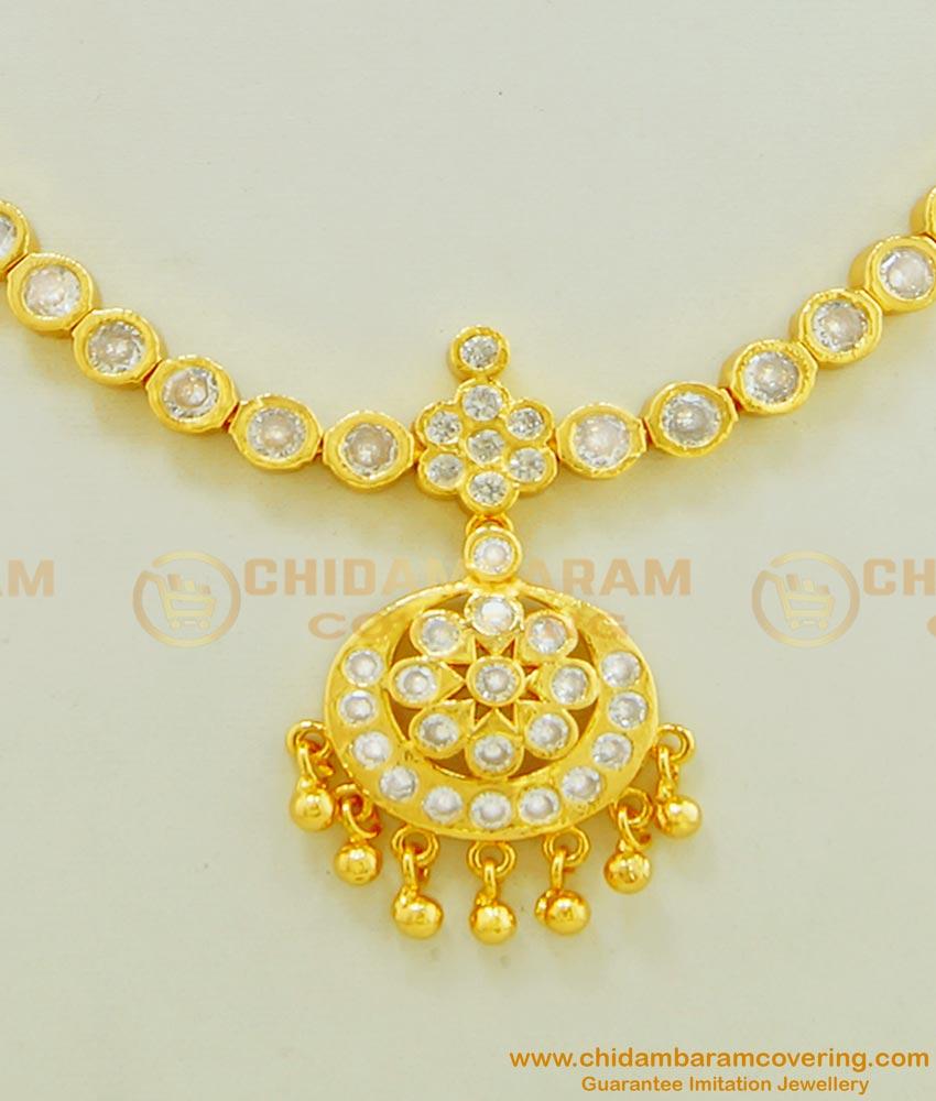 NLC466 - Traditional Impon Attigai White Stone Imitation Necklace Low Price Buy Online
