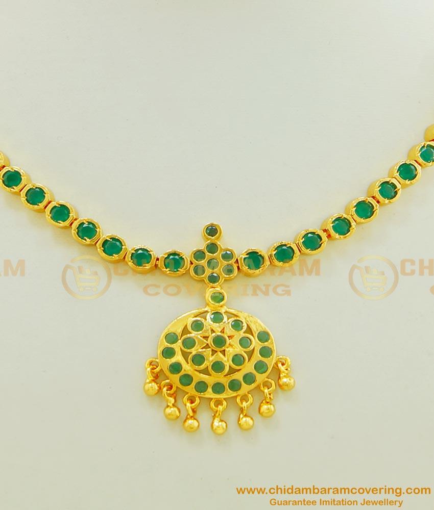 NLC467 - High Quality full Emerald Stone Flower Design Attigai Green Stone Necklace Online