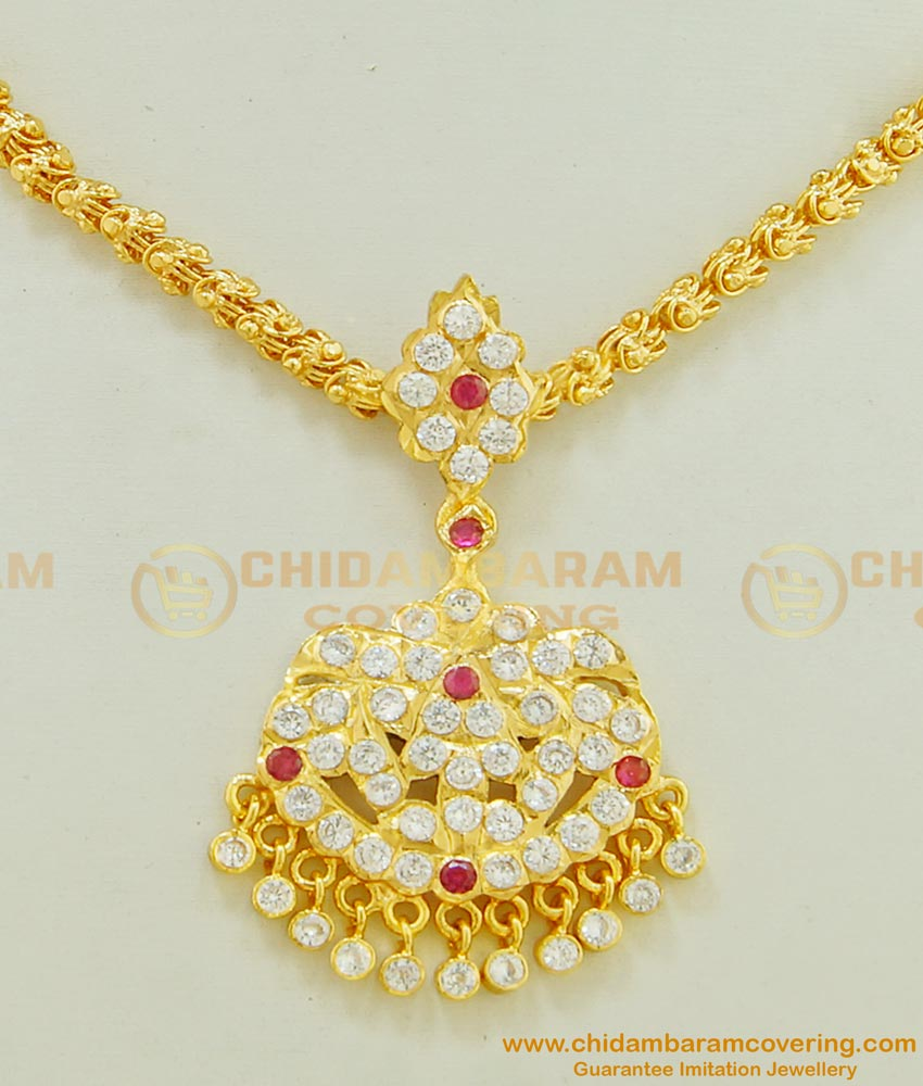 NLC491 - Impon Gold Finish Stone Peacock Dollar with Chain Design Attigai Necklace for Women