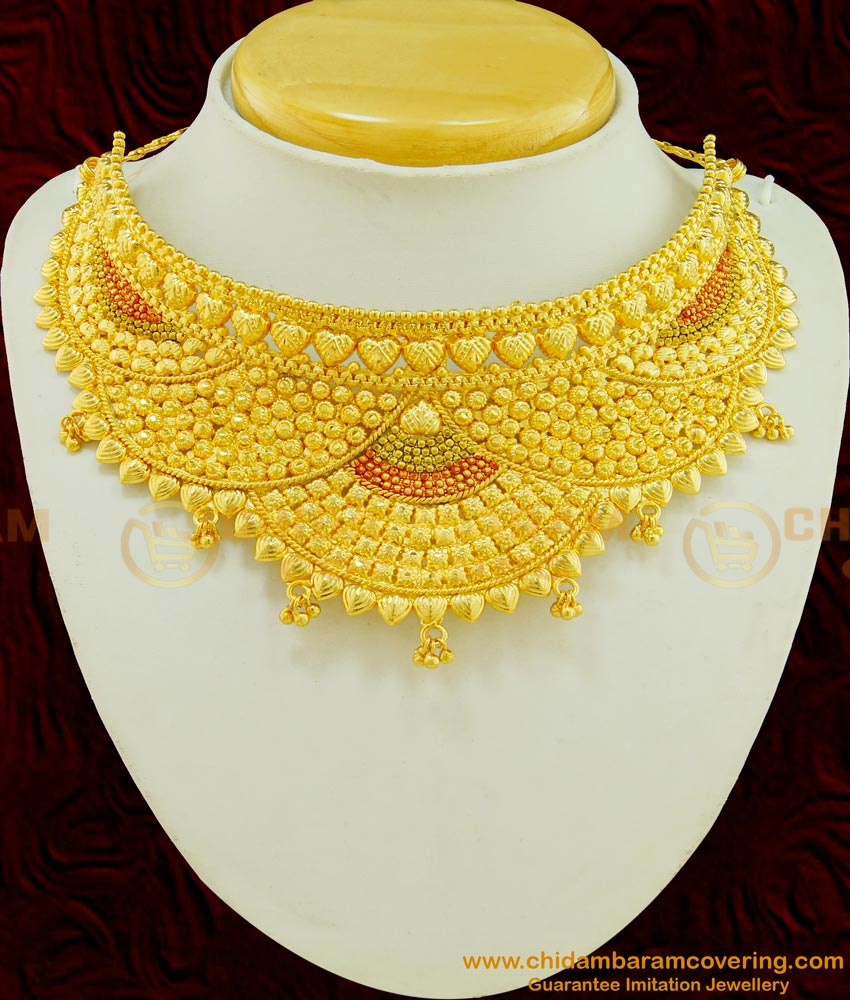 NLC493 - Latest Real Gold Choker Design Gold Plated Enamel Bombay Choker Necklace for Wedding