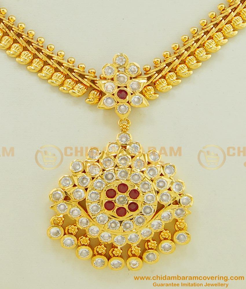 NLC498 - Impon Gold Finish Mango Design Stone Attigai Necklace for Women