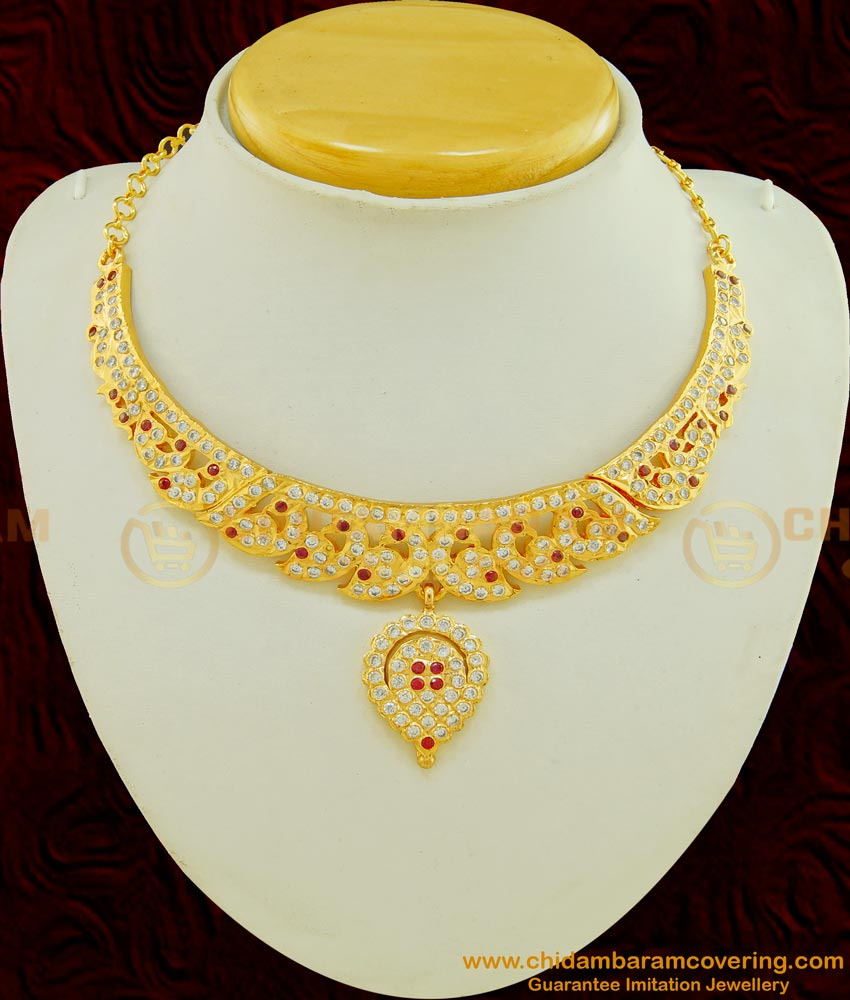 NLC502 - Getti Metal Gold Attigai Design Full Peacock Design Impon Attigai Necklace