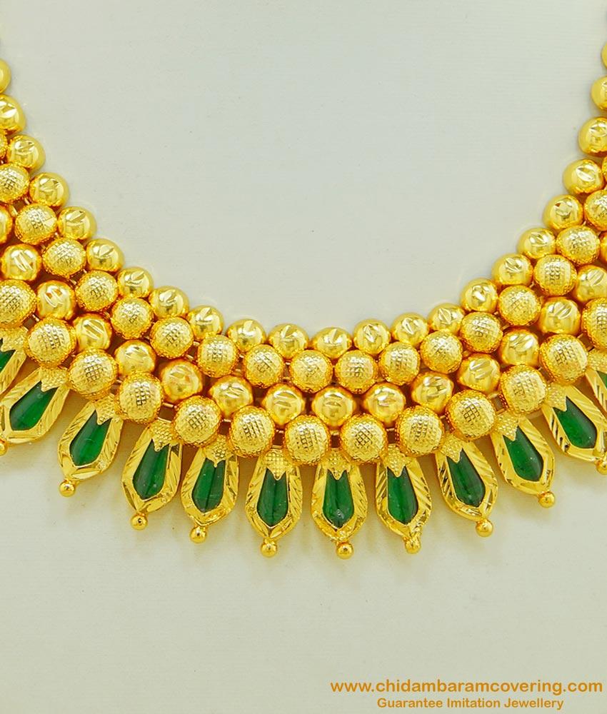 NLC508 - Most Beautiful Gold Design Full Green Palakka Choker Necklace Palakka Mala Kerala Jewellery for Wedding