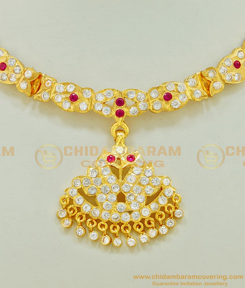 NLC514 - New Design Impon White and pink Stone Real Gold Swan Design Attigai Online