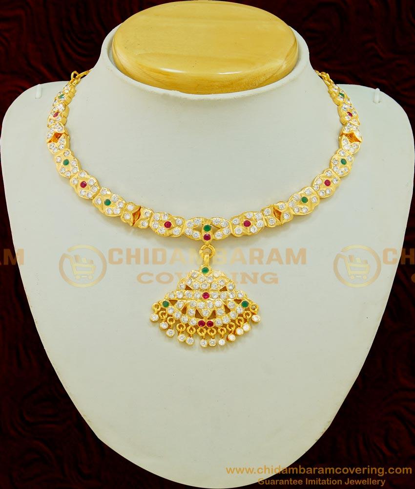 NLC515 - Latest High Quality Bridal Wear Impon Stone Real Gold Design Attigai for Wedding