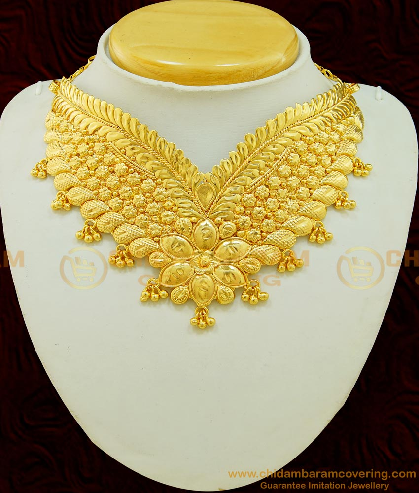 NLC518 - Modern Simple Gold Choker Necklace Design Gold Plated Bridal Choker Necklace Online