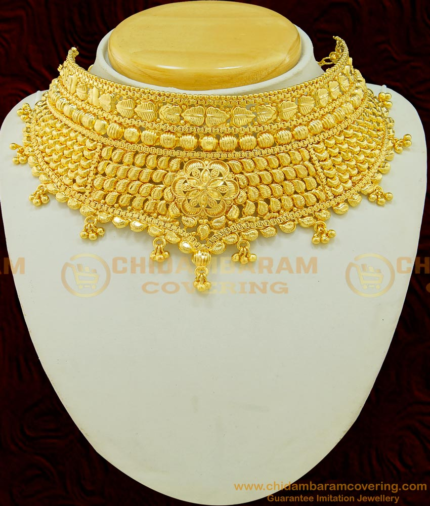 NLC519 - Latest Marriage Gold Choker Necklace Design Gold Plated Choker Necklace Online