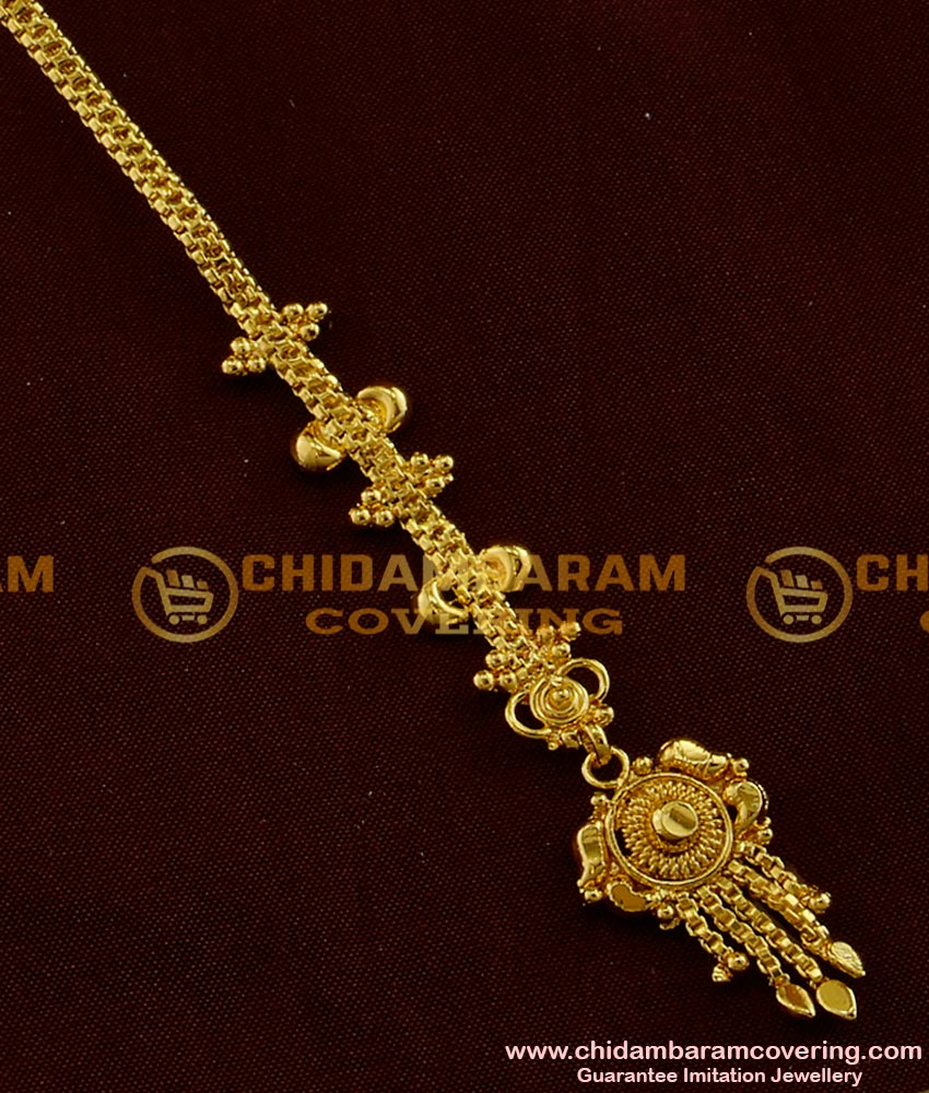 NCT015 - Light Weight Bridal Wear Gold Plated Design Nethi Chutti / Maang Tikka Simple And Stylish Design