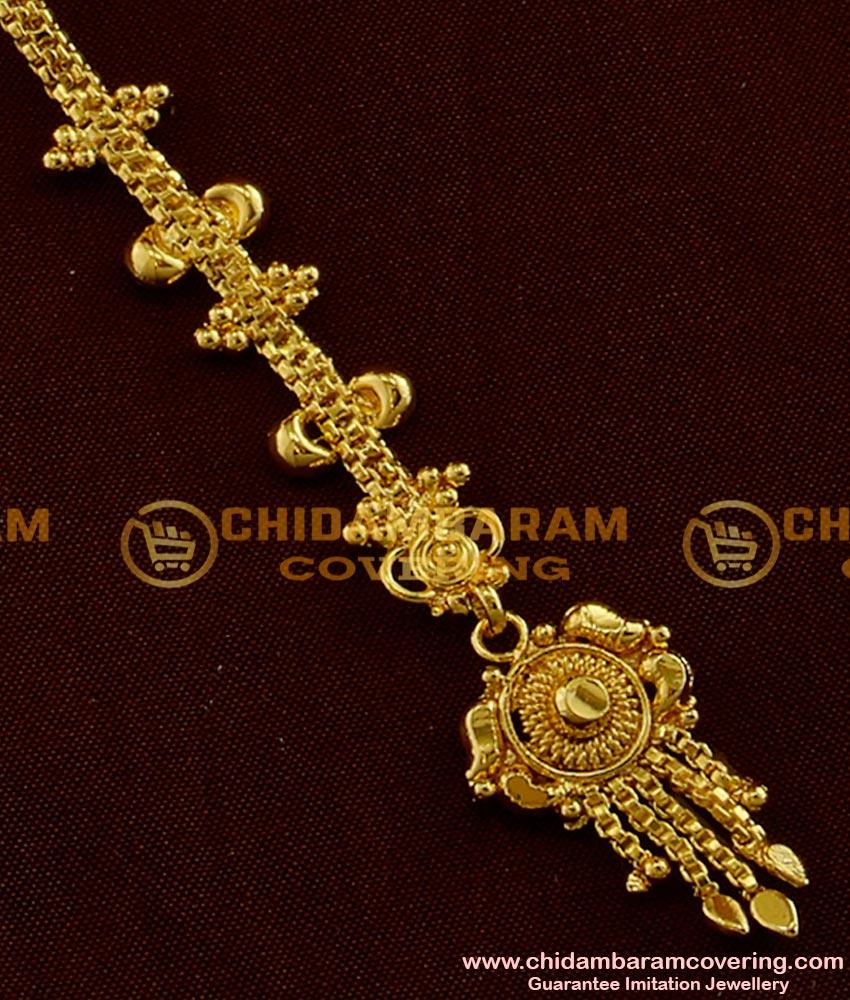 Light Weight Bridal Wear Gold Plated Design Nethi Chutti Maang