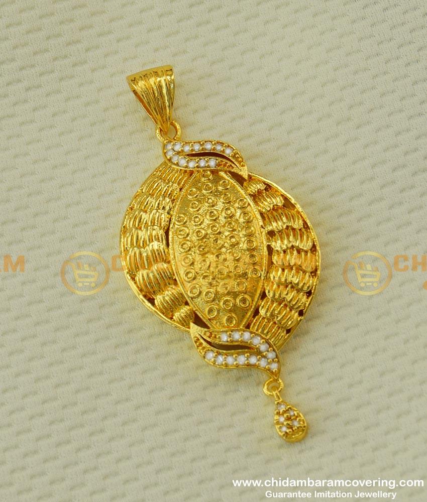 PND006 - New Collection Designer White Stone Gold Design Heavy Big Pendant Online