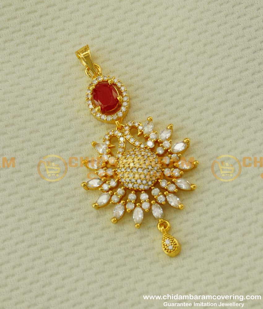 PND009 - Sparkling Stone Work Peacock Design Pendant Party Wear Jewellery