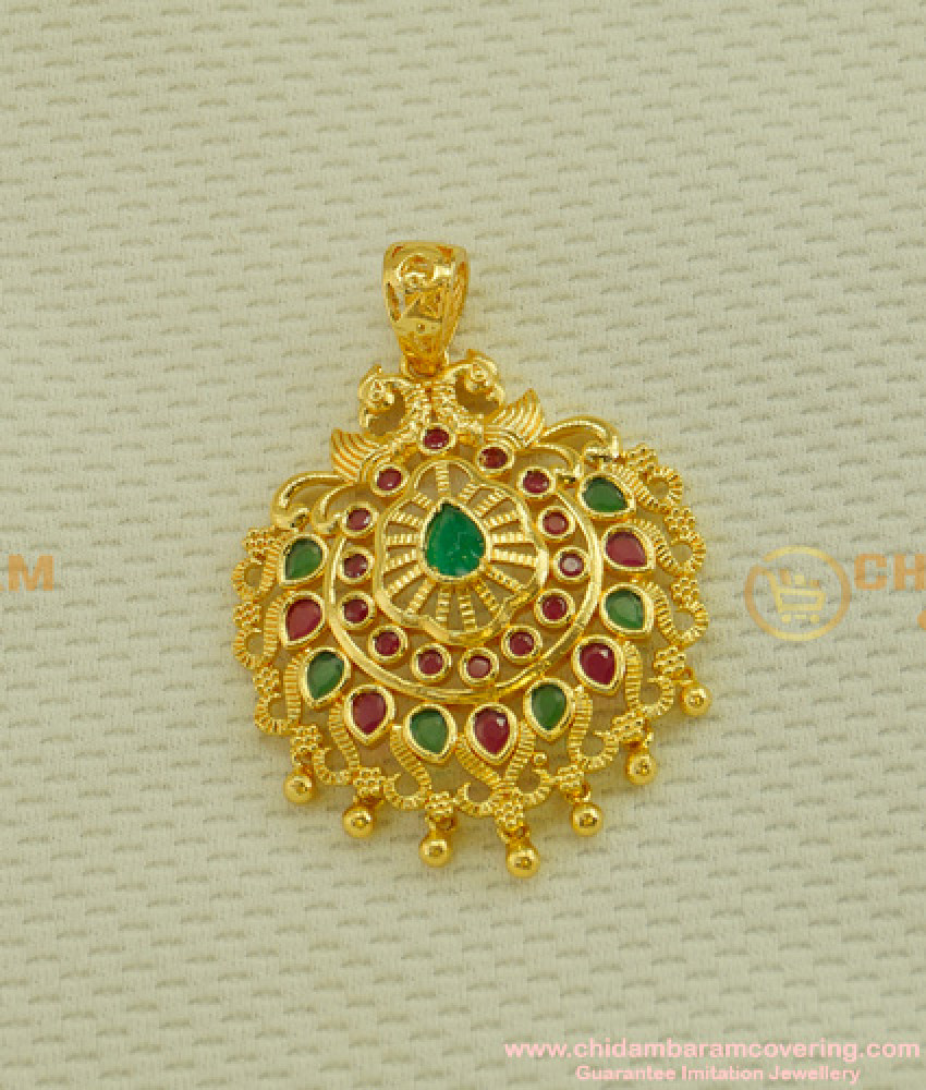 PND024 - Latest Ruby Emerald Stone Party Wear Pendant for Long Chain