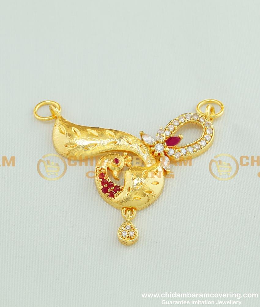 PND025 - Trendy Ruby Stone Peacock Design One Gram Gold Pendant Online