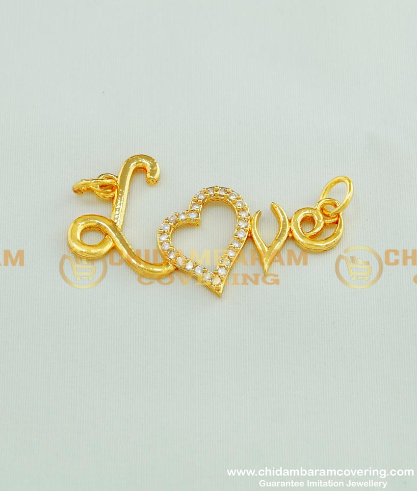PND027 - Elegant Ad Stone Heart Love Pendant Gold Design for Personal Gift