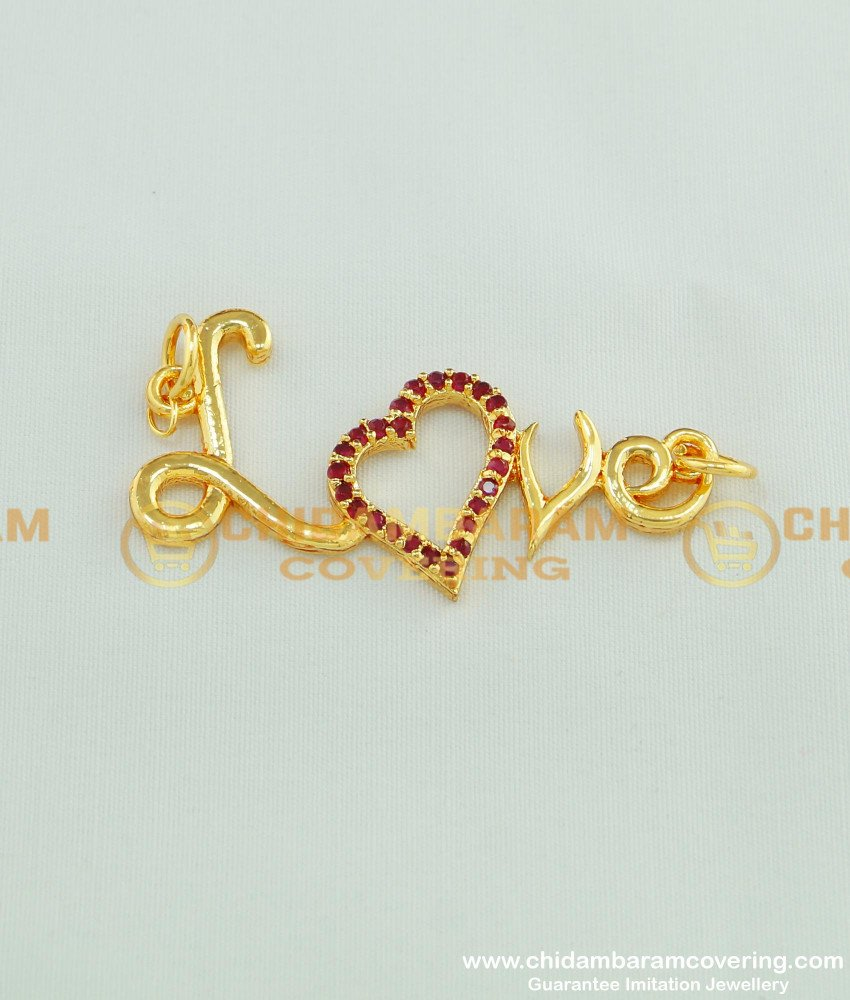 PND028 - Attractive Ruby Stone Gold Plated Heart Love Pendant Design for Female