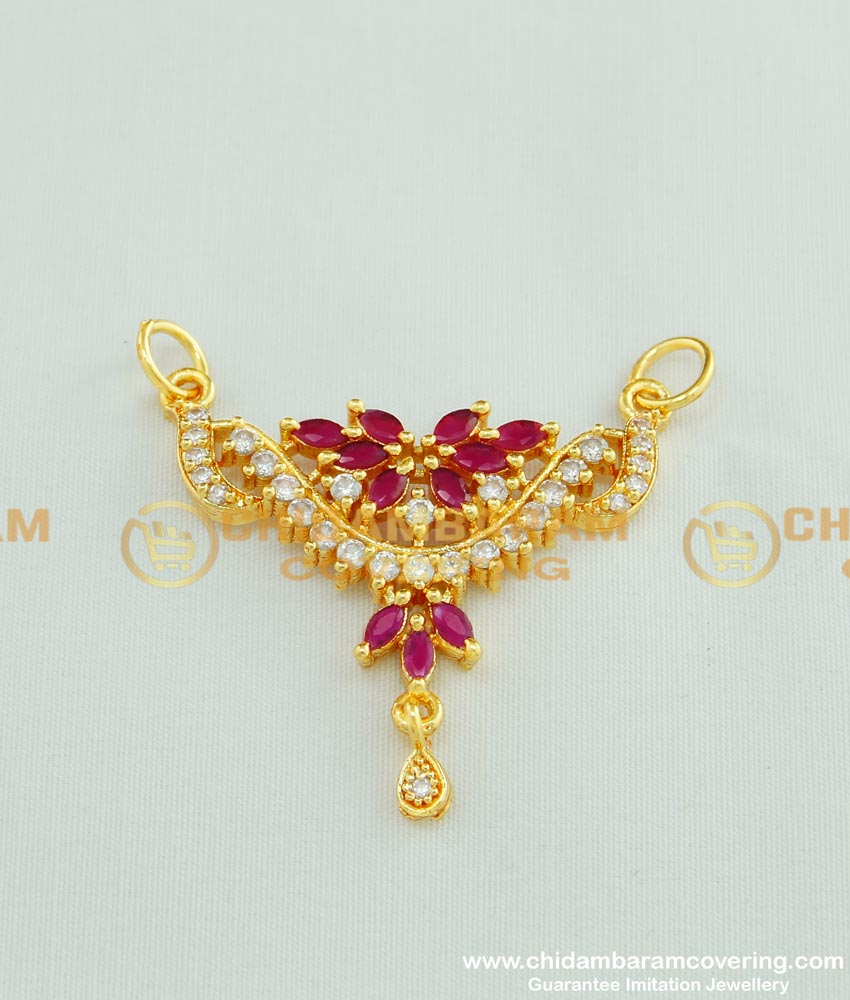 PND030 - Traditional Indian Wedding American Diamond Gold Pendant Design for Female Mangalsutra