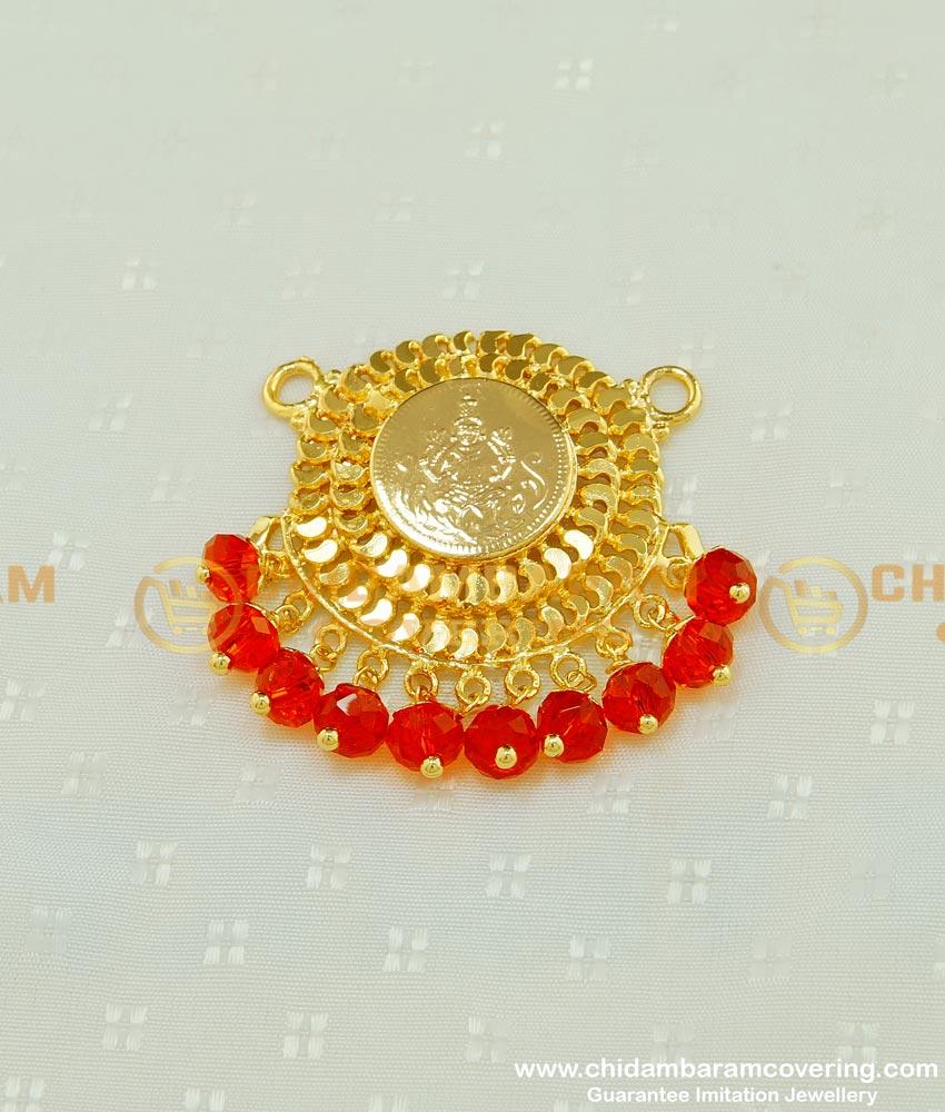 PND037 - One Gram Gold Crystal Hanging Lakshmi Round Locket Design Online
