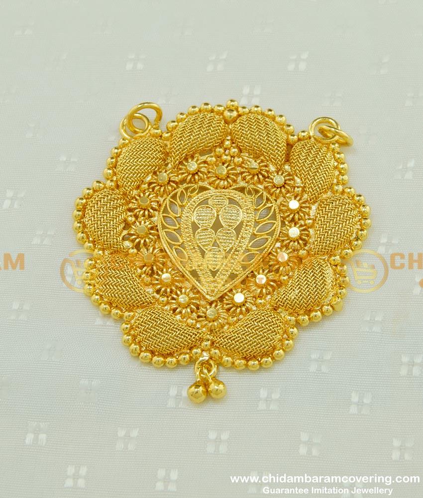 PND040 - Gold Design Plain Net Design Kerala Pendant for Long Chain Buy Online