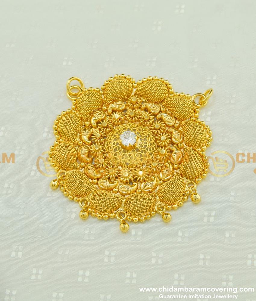 PND041 - Light Weight Gold Design White Stone Net Pattern Round Dollar for Chain Buy Online