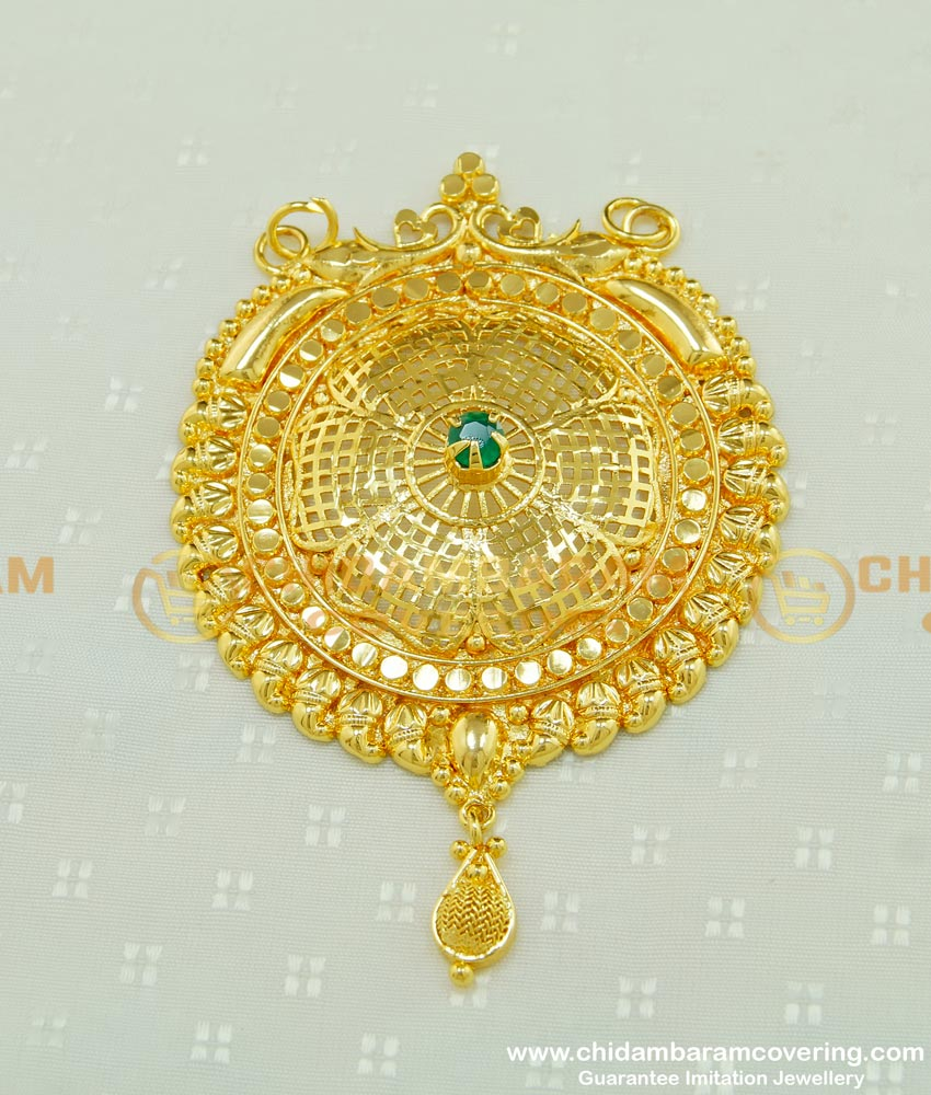 PND043 - Latest Emerald Stone Gold Plated Big Pendant Flower Design Round Dollar Collections