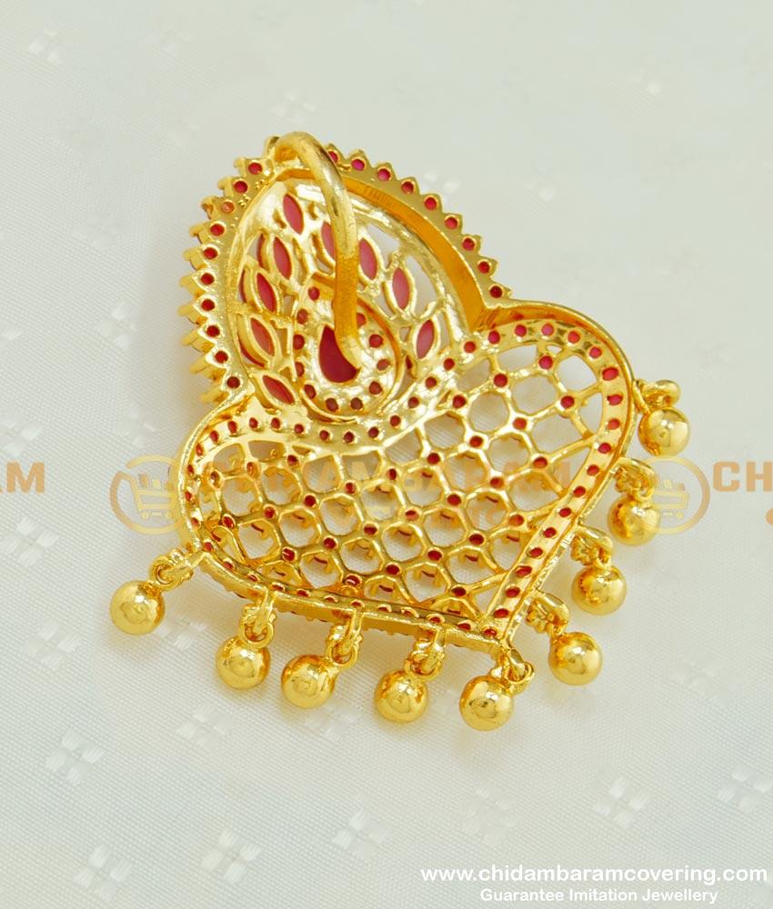 PND049 - New Gold Plated Full Ruby Ad Stone Designer Gold Locket Pendant Design