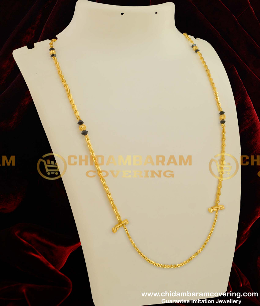 THN25-LG - 30 Inches Long Wheat Chain with Crystal Balls Design with Screw Connector Buy Online